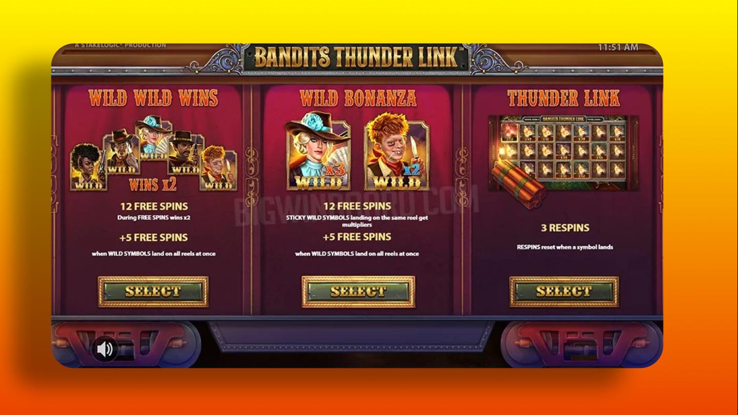 Играть в Bandits Thunder Link от компании Stakelogic на гривны онлайн